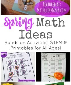 Looking for some new and fresh math ideas? This HUGE list includes more than 50 spring math ideas for all ages! You'll find low prep math worksheets, hands on activities, simple math games, spring STEM and more.