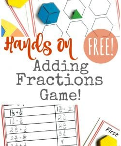 Hands On Adding Fractions Game for Kids