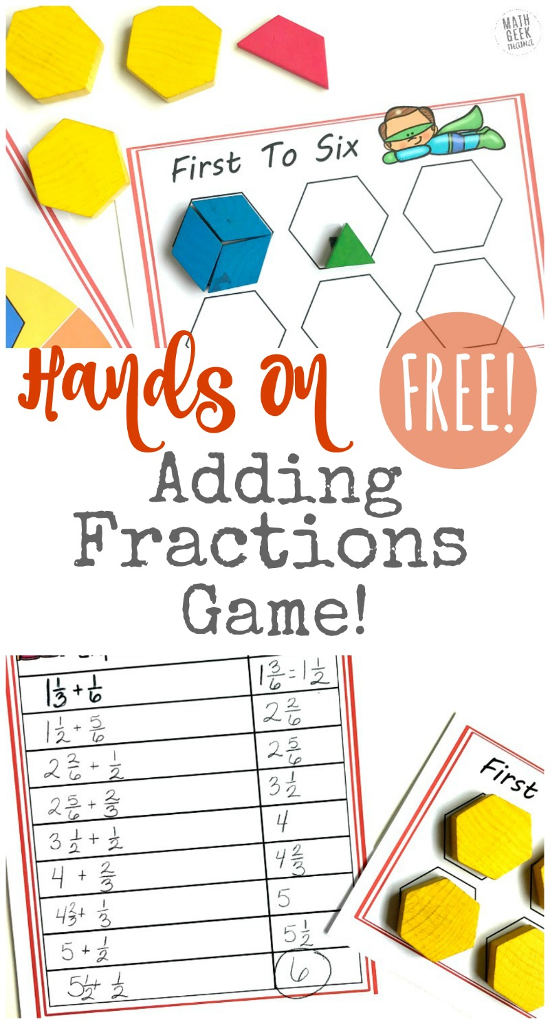 Looking for a visual, hands on way to teach kids adding fractions with unlike denominators? This fun adding fractions game will help kids learn how to add fractions and see equivalent fractions in an easy, non-threatening way! Get it free!