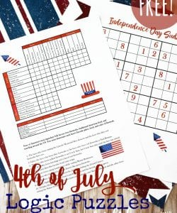 4th of July Logic Puzzles for Kids {FREE}