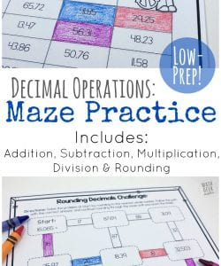 Low Prep Decimal Operations Mazes for Grades 4-6