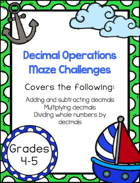 Looking for some easy, low-prep practice with decimal operations? This set of practice mazes is not only fun, but self-checking, making it a great independent math activity for kids in grades 4-6. Learn more about the decimal operations practice pages in this post.