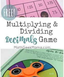 Spin It! Multiplying Decimals Game for Kids {FREE}