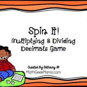 This game provides fun practice with decimals and is great for kids who love to use their fidget spinner! With this easy print and play game, kids will work on multiplying and dividing whole numbers with decimals. Plus, with blank game boards you can create even more variations!