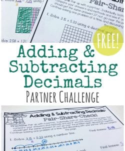 Looking to stretch and challenge your kids to better understand addition & subtraction with decimals? This adding $ subtracting decimals partner challenge is a great way to work on multiple strategies and foster cooperative learning and problem solving. Learn more and grab the activity free from Math Geek Mama!