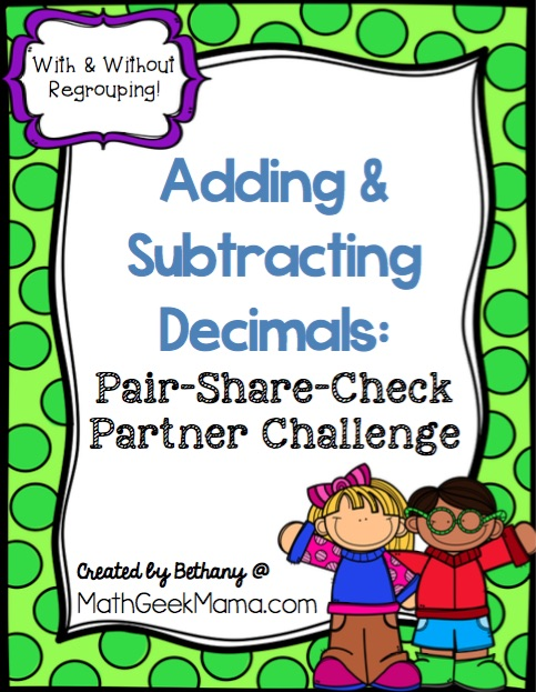 Looking to stretch and challenge your kids to better understand addition & subtraction with decimals? This adding & subtracting decimals partner challenge is a great way to work on multiple strategies and foster cooperative learning and problem solving. Learn more and grab the activity free from Math Geek Mama!