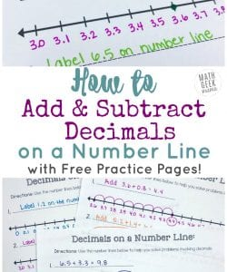 Add & Subtract Decimals on a Number Line {FREE Printable Number Lines!}