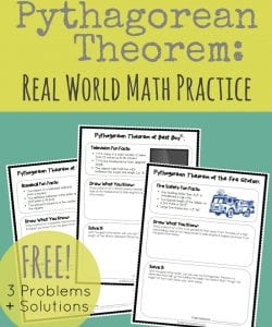 Introducing your kids to the Pythagorean Theorem? Or just looking for some real life practice and examples? This set of Pythagorean Theorem practice is a great way to help kids see the importance of math in their everyday life. Get 3 practice problems plus answer keys!