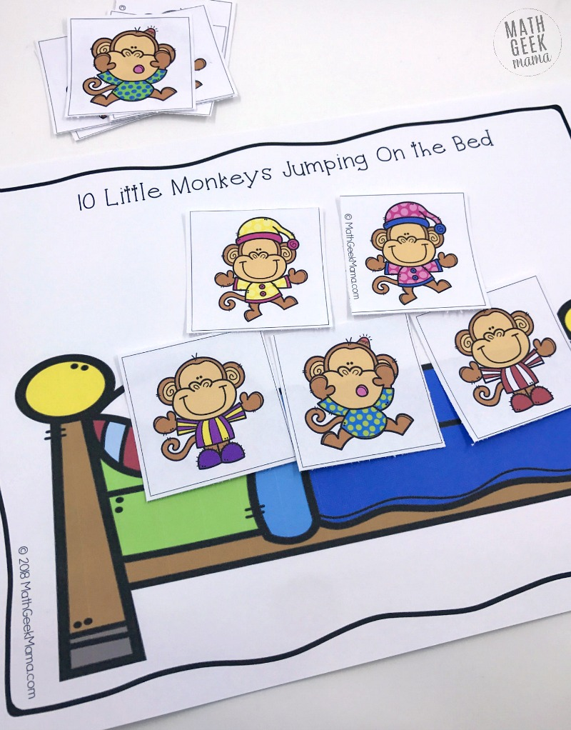 "This super simple printable game can be used along with the book or rhyme, ""Ten Little Monkeys Jumping on the Bed."" The great thing about this game is that is can be used and adapted for nearly any age! So all your kids can practice their math skills together!"