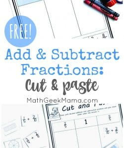 Add & Subtract Fractions Cut & Paste Activity {FREE}