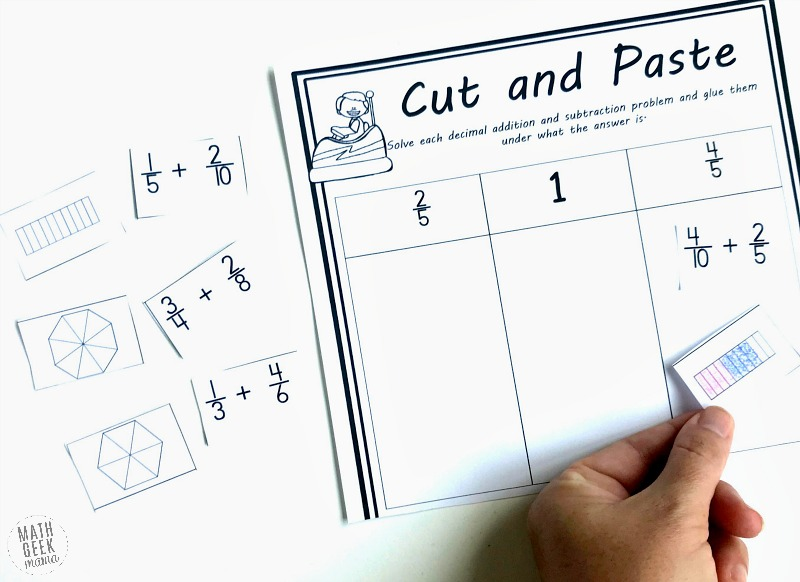 Do your kids need extra practice with fractions? This add & subtract fractions activity is a great way to incorporate visual models with fraction operations. Plus, it helps kids practice simplifying fractions as well, as they have to determine the right place to glue their solution!