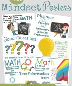 Cute Growth Mindset Math Posters for Kids {FREE!}