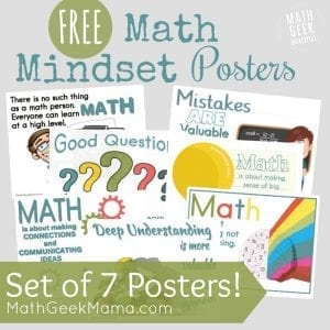 Want to remind your kids to think positively about math, mistakes and learning? Grab the free set of growth mindset math posters! These positive messages provide great discussion starters and reminders for everyone.