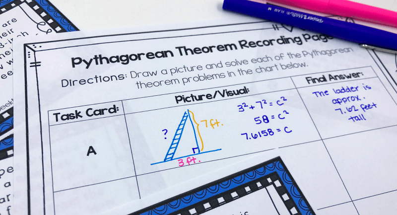 Free Pythagorean Theorem Word Problems Task Cards