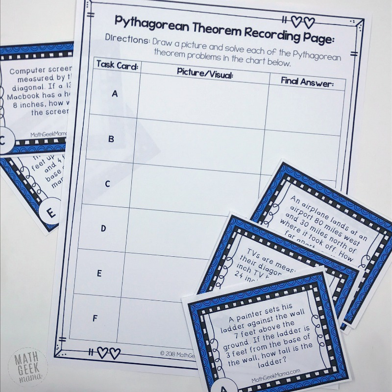 Are your kids ready for some Pythagorean theorem word problems? This FREE set of task cards can be used as a whole class activity, in small groups or individually to help kids see and use the Pythagoren theorem in real life.