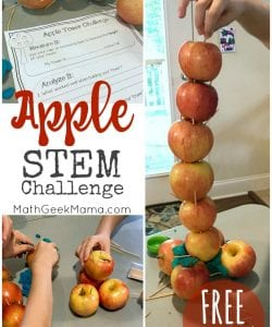 "This fun apple STEM challenge will excite your kids. It's perfect for back to school or fall or to use along with the book, ""Ten Apples Up On Top!"""