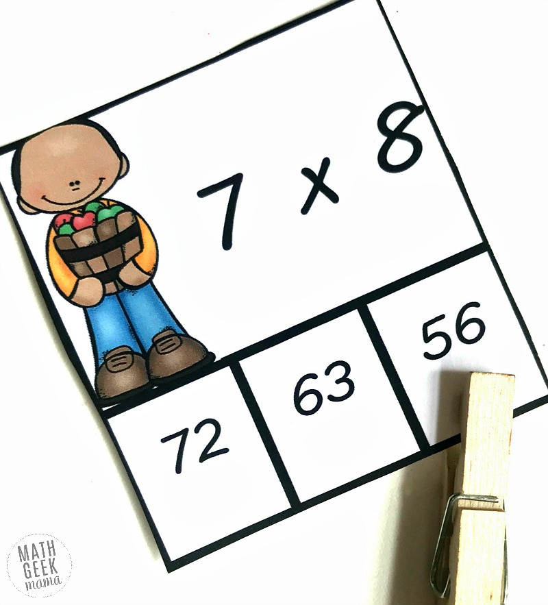 Multiplication Practice With Clip Cards Math Geek Mama