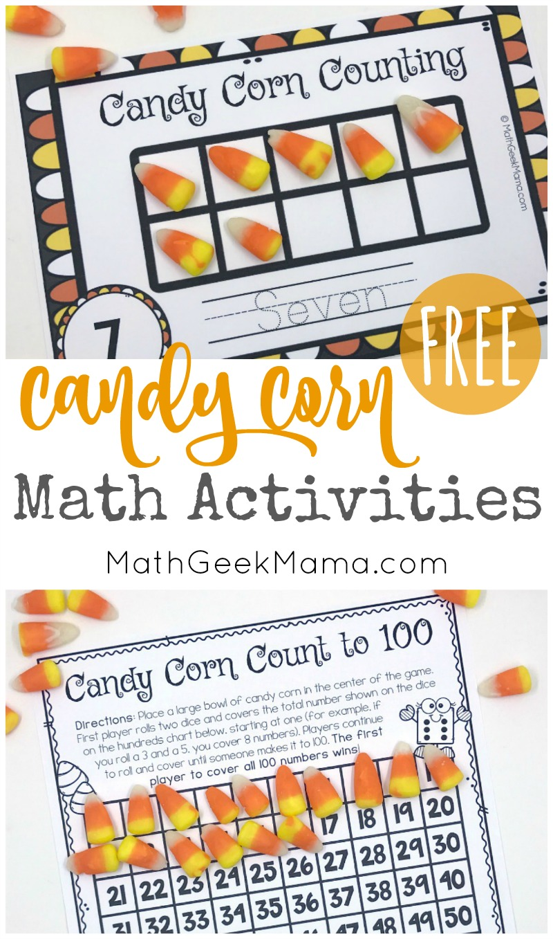 Looking for a fun way to put all your candy corn to good use? This free set of candy corn math printables use candy corn as a fun math manipulative. There are counting mats, an addition game, plus counting to 100 and measurement. Kids will love it!