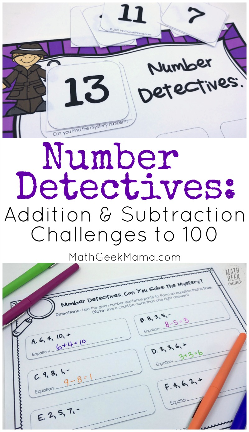 This engaging, open ended activity will help kids better understand addition and subtraction. These challenge problems can be used lots of different ways and will help kids to compose and decompose numbers from 2-100.