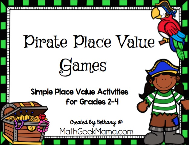 This fun, pirate themed place value game collection is a great way to deepen kids' understanding of place value and also challenge them to think critically about large numbers. It includes 2 different board games, plus a more open ended place value challenge.