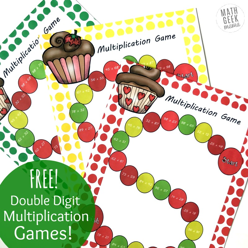 Need a fun and quick review of double digit multiplication? This set of 3 printable board games is an easy way for kids to get in some extra double digit multiplication practice. Plus, they're free and low-prep, making it a win-win!
