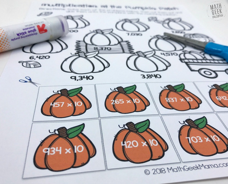 This fun cut & paste collection of multi-digit multiplication worksheets is a great way to give kids some additional practice. These are easy and low prep, plus they're self-checking. Grab them free from Math Geek Mama.