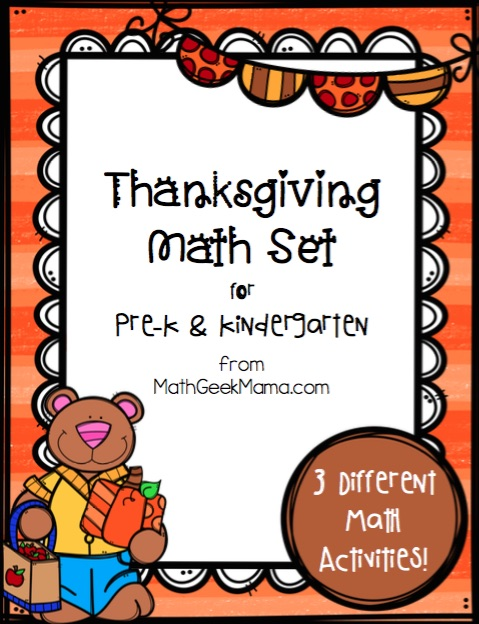 Looking for some easy and low-prep math activities for Thanksgiving? This collection includes 3 different activities to help provide fun practice with counting, number recognition, number words, and patterns. This collection of Thanksgiving math for kindergarten works great as individual practice or as a math center.