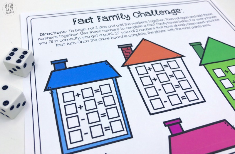 Help kids learn and explore addition and subtraction with these cute fact family game boards. There are so many variations, you can easily differentiate for individuals, small groups or play together as a class! Grab the whole set FREE from Math Geek Mama.