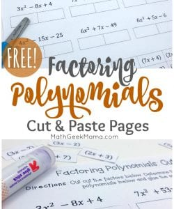 This simple set of cut and paste pages is the perfect low-prep factoring polynomials practice. This FREE download includes 4 different pages of polynomials plus answer keys.
