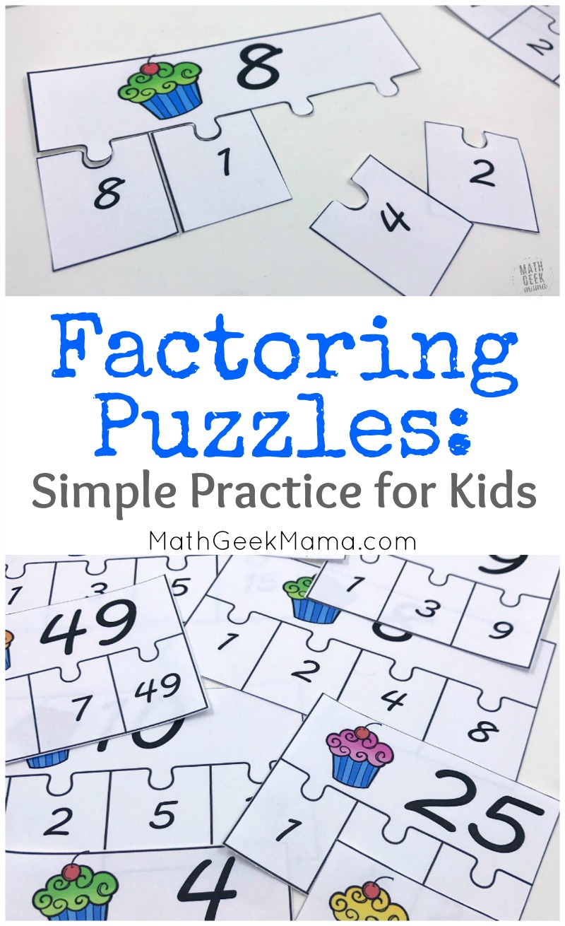 Provide some fun and different factoring practice with this FREE set of factoring puzzles! It includes 20 different puzzles with a variety of numbers.