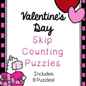 Practice skip counting and make a cute math craft at the same time! This set of Valentines Day math puzzles is the perfect way to introduce or practice skip counting with kids in grades K-2.