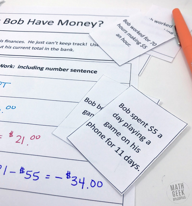 Introduce your kids to integer operations with this fun real life math lesson. In this lesson, kids will add & subtract integers to determine how much money Bob has in the bank and find his ending balance. Not only will kids learn what happens when you add & subtract positive & negative numbers, but they will see the commutative property at work. Grab this FREE from Math Geek Mama.