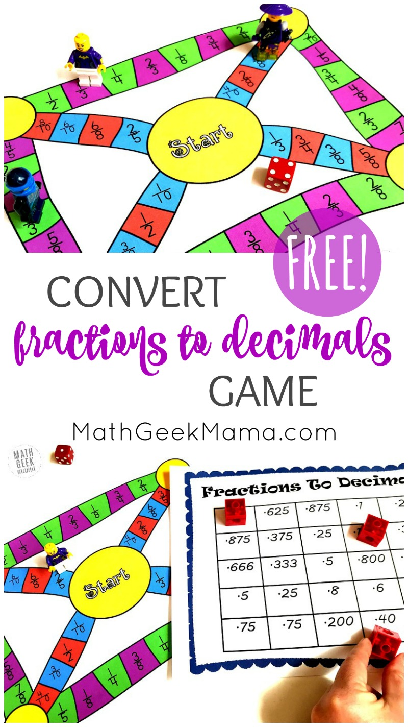 Need a fun and engaging way to give kids practice with converting fractions to decimals? This game is easy to set up and different every time you play! It will give kids the opportunity to practice mental math conversions, or you can let kids work out each solution on a piece of paper. Either way, this is a fun game you can pull out again and again.