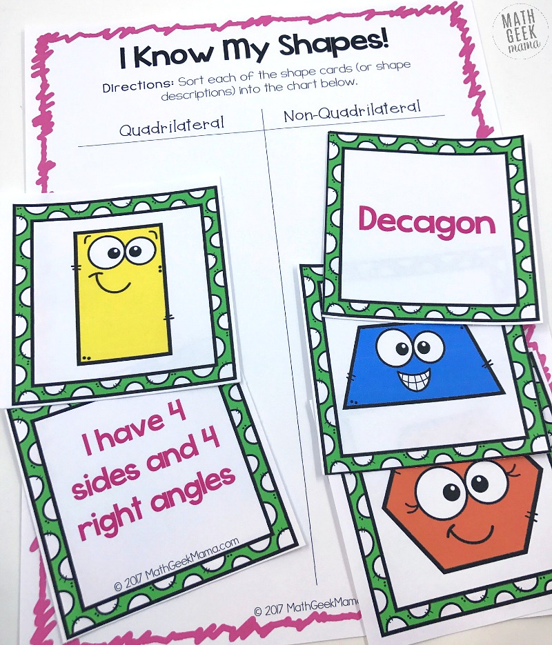 Want to introduce young ones to basic shapes? Or maybe you want to stretch and challenge older kids to learn more challenging shapes? Either way, this set of shape games for kids is low prep and can be used and adapted to play several different games with shapes and their attributes. Plus, it's compeltely FREE!.