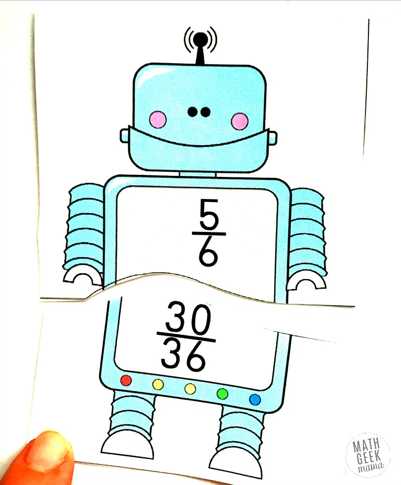 Looking for a fun and easy way to practice finding and recognizing equivalent fractions? These adorable robot equivalent fractions puzzles are perfect! This FREE download includes 44 different puzzles, so you can pick and choose the level of difficulty.