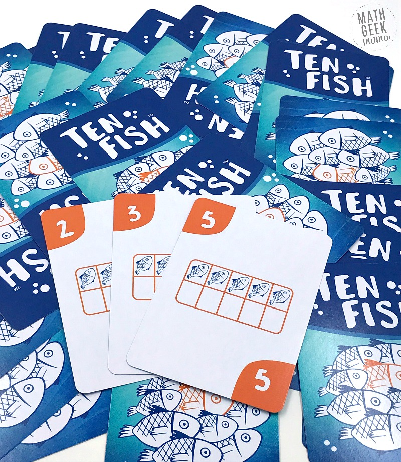 Looking for a fun and easy to learn math card game? The game 'Ten Fish,' a fun ten frames game, is easy to learn and suitable for your youngest learners, but can also challenge and engage older kids. Learn the benefits of playing with ten frames and how to play this fun game!