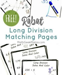 Need a little quick and easy long division review? This cute set of robot coloring pages will give your kids some long division practice and is no-prep for you! Plus, grab some colored pencils and have fun coloring the robots after the math problems are solved.