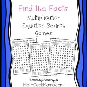 Need some fun and quick multiplication practice? This set of 'equation search' games is a fun multiplication game for 3rd grade kids who need to focus on a specific set of facts. This FREE download includes practice pages for all facts from 2-12! Kids will love the challenge of finding all the facts in the puzzle.