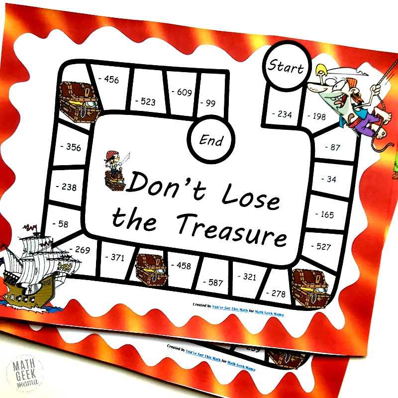 "Picture of pirate themed board game called, ""Don't Lose the Treasure."" Shows 2 game boards, with pirate, tresure chest, pirate ship."