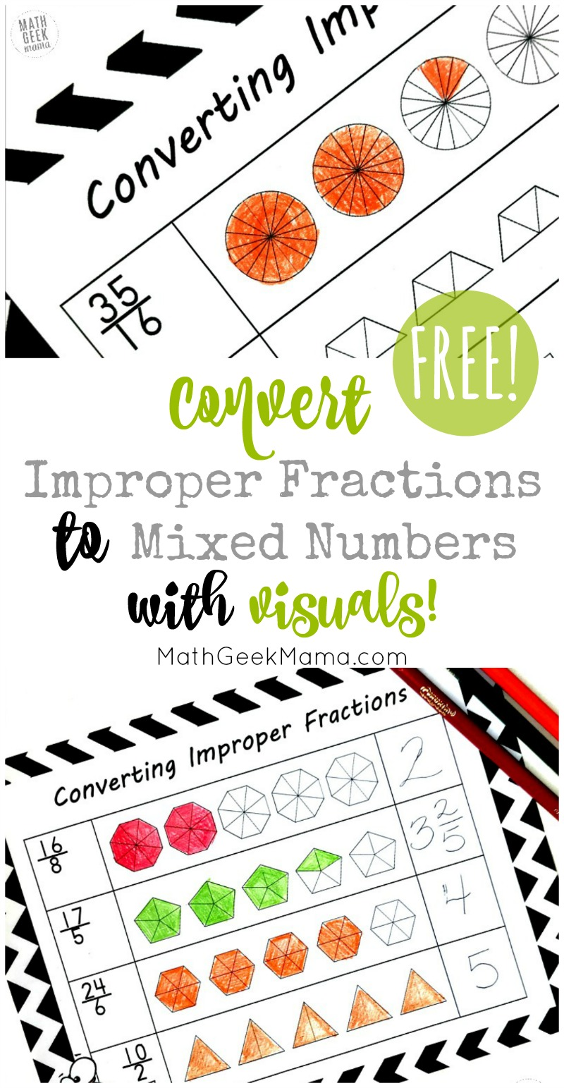 FREE} Convert Improper Fractions to Mixed Numbers Using Visuals