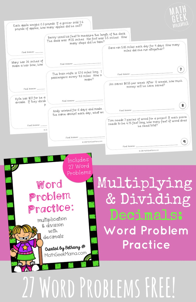 FREE} Multiplying Decimals Word Problems Set